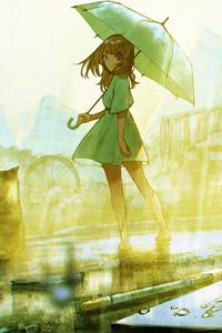 480x854 Anime Girl With Umbrella In Rain