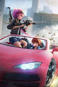 Anime Girls Car Chase 4k