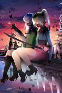 1242x2688 Anime Girls Horned 4k