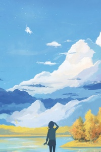 240x400 Anime Landscape Girl Seeing