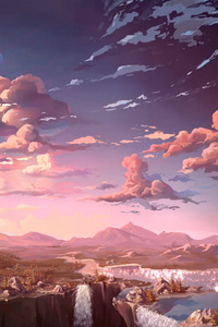 320x480 Anime Landscape Waterfall Cloud 5k