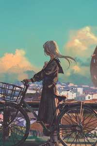 Anime Original Bike City Long Hair Artwork