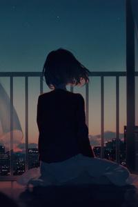1242x2688 Anime Original Girl Looking Away 4k