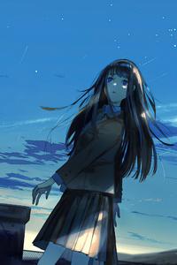 750x1334 Anime Original Girl Rooftop Evening Time 4k