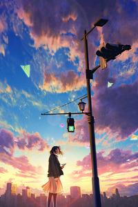480x854 Anime Original Girl Traffic Light 4k