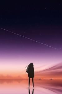 800x1280 Anime Pink Sky Standing Alone
