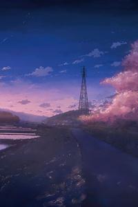 320x568 Anime Scenery Field 4k