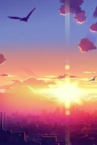 320x568 Anime Scenery Sunset 4k