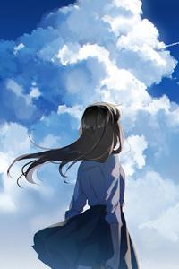 540x960 Anime School Girl Watching Clear Sky