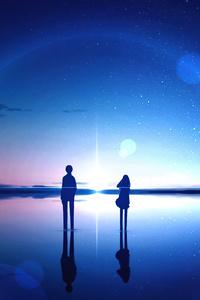 320x480 Anime Sky Stars Reflection Digital Art 4k