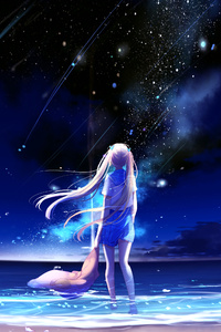 Animegirl Night Sea Stars Fantasy
