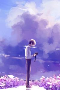 Animeguy Animemanga Clouds Digital Flowers Illustration Lavender
