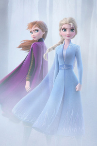 1242x2688 Anna And Elsa In Frozen 2 4k