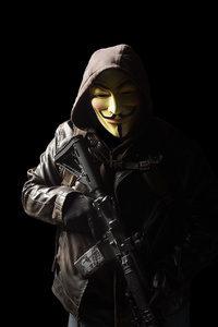 1242x2688 Anonymous Mask Person With Gun 5k