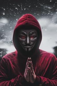 1242x2688 Anonymus Eyes Red Hoodie 5k