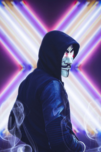 640x960 Anonymus Face Mask Looking Back 4k