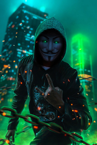 1242x2688 Anonymus Guy Glowing Eyes Green Neon 4k