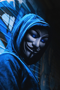 1242x2688 Anonymus Guy White Mask 4k