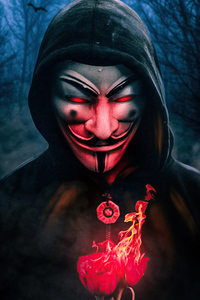 Anonymus Guy With Burning Rose 4k