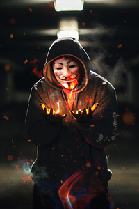 Anonymus Guy With Flame In Hand 4k