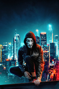 1080x2280 Anonymus Mask Boy Rooftop Buildings 5k