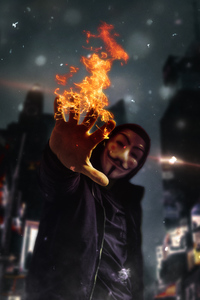 Anonymus Mask Guy With Flame In Hand 4k