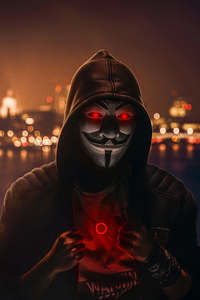 Anonymus Mask Red Badge 4k