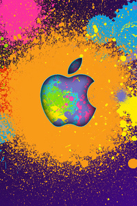 480x800 Apple Colorful Logo 4k