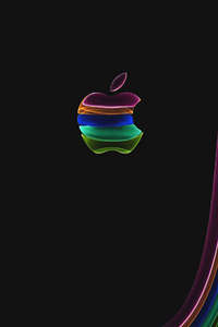1080x2160 Apple Glass Logo Dark 4k