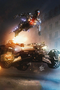 800x1280 Aquaman Batman Batmobile Cyborg Justice League Superman The Flash Wonder Woman