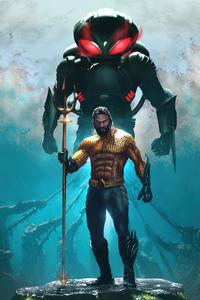 720x1280 Aquaman Poster Illustration 5k