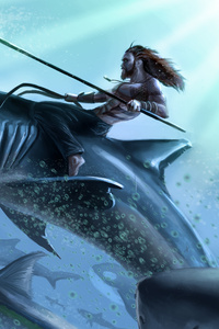 540x960 Aquaman Riding On Shark Art 4k