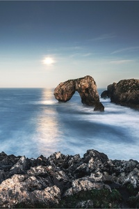 Arch Coast Horizon Nature Ocean Rock Sky Sun