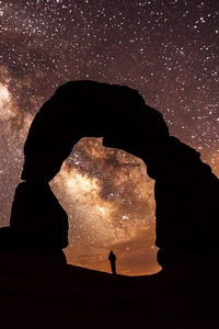 Arch Sandstone Sunset Rock Person Standing