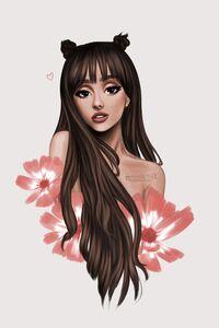 480x854 Ariana Grande Cartoon Art 5k