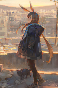320x568 Ark Knight Anime Girl 4k