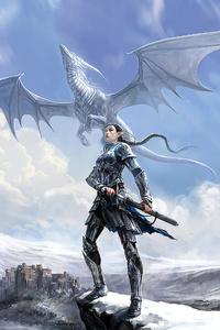 720x1280 Armor Girl White Dragon 4k