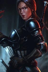 640x960 Armor Night Sword Woman Warrior