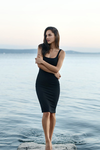 1440x2560 Arms Crossed Girl Black Dress 5k
