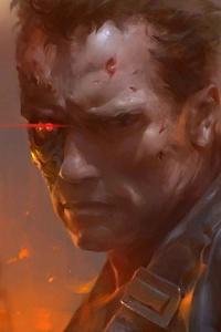 240x400 Arnold Schwarzenegger As Terminator Artwork