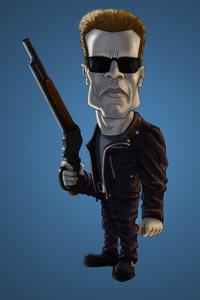 Arnold Schwarzenegger Terminator Cartoon Shotgun
