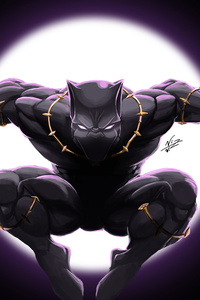1080x2280 Art Black Panther