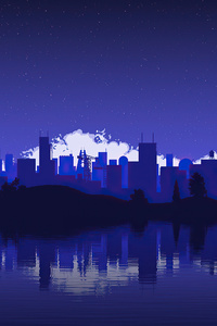 320x480 Artistic City Vector Blue 4k