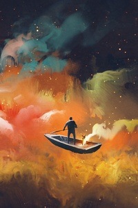 240x320 Artistic Cloud Boat Outer Space Floating 4k