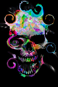 640x960 Artistic Colorful Skull