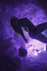 240x320 Artistic Girl Purple Space Space Suit
