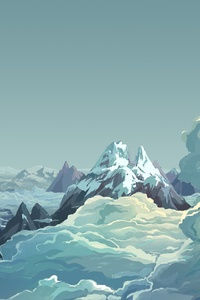Artwork Illustration Mountains Sky Digital Art