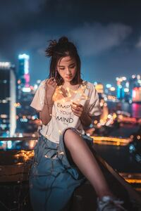 750x1334 Asian Girl Portrait Standing On Roof Top