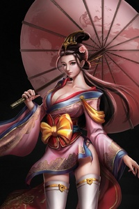 1242x2688 Asian Girl Umbrella Fantasy Art 4k