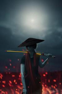 1125x2436 Asian Girl With Lava Sword